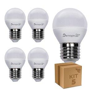 Kit 5 Lâmpada LED Bolinha E27 4,5W Branco Quente