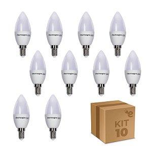 Kit 10 Lâmpadas LED Vela E14 3W Branco Quente