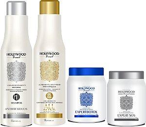 Hollywood Brasil Mascara Selante All Blend  1L + Shampoo Antirressíduos + Expert Botox 1Kg + Expert SOS 1Kg