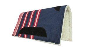 Manta Americana de algodão Tear Manual Top de Linha Azul Mar 04