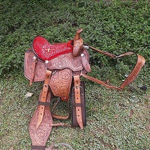 Sela Laço Americana Prudente Cavalo Marrom Couro Legítimo