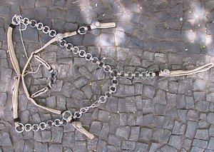 Conjunto Peitoral e Cabeçada Argolas Inox - Bege