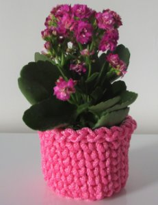 Porta treco de crochê P rosa