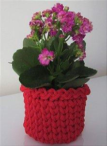 Porta treco de crochê P vermelho