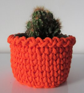 Porta treco de crochê M laranja