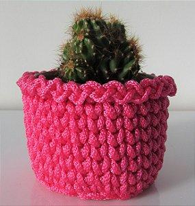 Porta treco de crochê M rosa pink