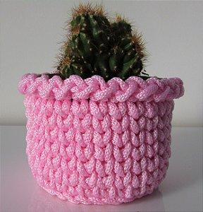 Porta treco de crochê M rosa bebê