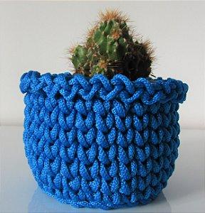 Porta treco de crochê M azul índigo royal anil
