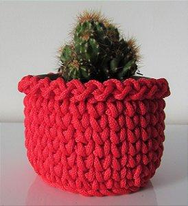 Porta treco de crochê M vermelho