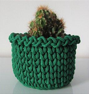 Porta treco de crochê M verde musgo