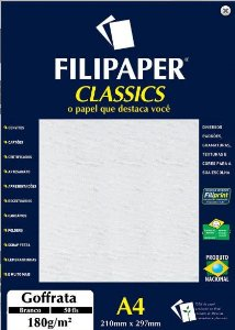 Filipaper Goffrata 180g/m² (50 folhas; branco) A4 - FRETE GRÁTIS - FP00951