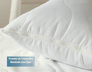 Protetor de Travesseiro 1 peça Tecido Microfibra Peletizada 50 x 70cm Matelado com Zíper