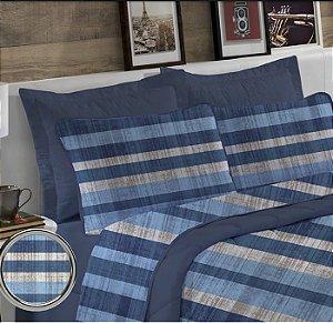 Jogo de Cama Solteiro King 3 peças de Malha Edromania Europa Azul Salvador