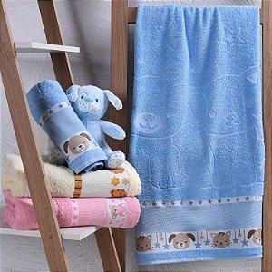Toalha de Banho 100% algodão infantil para bordar Ponto Cruz Jacquard barra trabalhada AZUL Kinder Pets