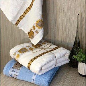 Toalha de Banho 100% algodão infantil para bordar Ponto Cruz Jacquard barra trabalhada Kinder Pets BRANCA Safari