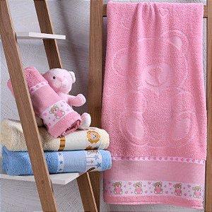Toalha de Banho 100% algodão infantil para bordar Ponto Cruz Jacquard barra trabalhada ROSA Kinder Ursinha