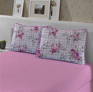 Kit: 1 Lençol de Malha Casal liso e 2 Fronhas Estampadas Edromania Line Rosa
