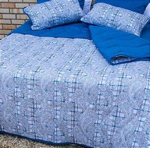 Jogo de Cama Queen de Malha Edromania Estampado Saxon Azul
