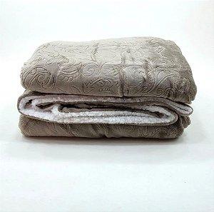 Cobertor Soft Flannel Dupla Face Manta Sherpa - Queen - Vermont InterHome - Bege