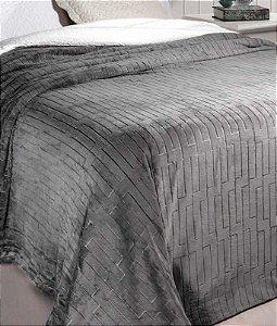 Cobertor Soft Flannel Dupla Face Manta Sherpa - Queen - Vermont InterHome - Cinza