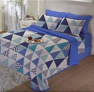 Edredom de Malha Casal Estampado Acqua Azul - Edromania