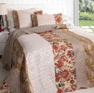 Kit Colcha Queen Patchwork Bouti Inter Home Rozac - Tropez Maria Flor