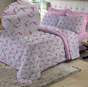 Kit Cobre Leito Queen com Porta Travesseiros de Malha Edromania Flamingo