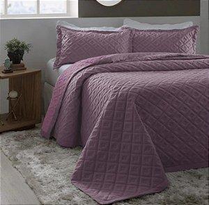 Kit Colcha Casal com Porta Travesseiros Madri 3D Super Soft Dupla Face Violeta + Lavanda Rozac