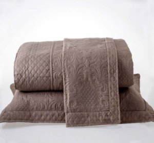Kit Colcha Casal com Porta Travesseiros Microfibra - Provence Marrom