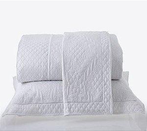 Kit Colcha Casal com Porta Travesseiros Microfibra - Provence Branca