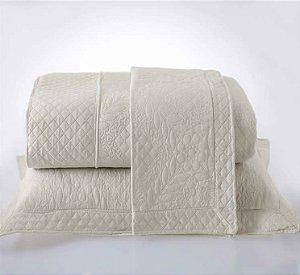 Kit Colcha Casal com Porta Travesseiros Microfibra - Provence Bege