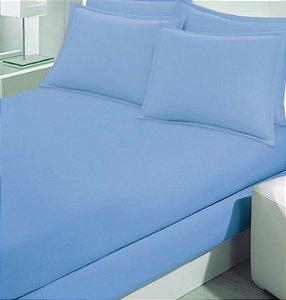 Lençol Avulso com elástico King Size de Malha 250 - Cor Azul - Buettner