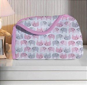 Edredom para Bebê de malha - Estampado Elefante Rosa - Edromania