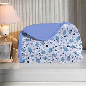 Edredom para Bebê de malha - Estampado Dino Azul - Edromania