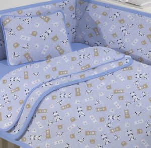 Jogo de Berço Bebê de Malha 3 peças Panda Azul - Edromania