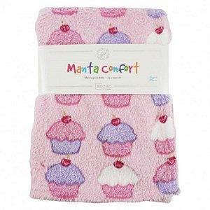 Manta para Bebê Confort super macia 75cm x 100cm - Antialérgica Cupcake Rosa