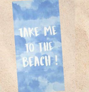 Toalha de Praia Velour Dohler Take me to the Beach Azul