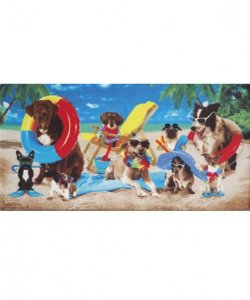 Toalha de Praia Velour Dogs at the Beach - Dohler