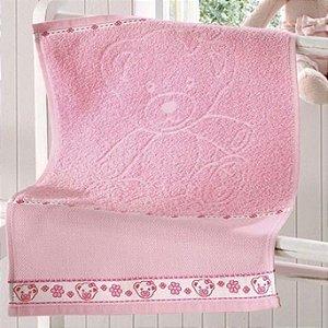 Toalha de Lavabo Rosa para Bordar Baby Kids - Ursinha - Dohler