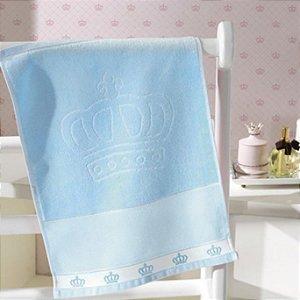 Toalha Lavabo Velour para bordar ponto cruz Baby Classic Coroa Azul - Dohler