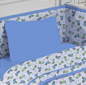 Kit 2 peças Fronhas Estampadas para bebê de Malha - Lisa Azul Edromania