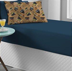 Kit 2 peças Solteiro Lençol com elástico liso + Fronha estampada de Malha Portallar Monster Truck Azul