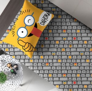 Jogo 2 peças Solteiro de Malha Lençol com elástico Estampado + Fronha estampada Portallar Cyber Emoticons
