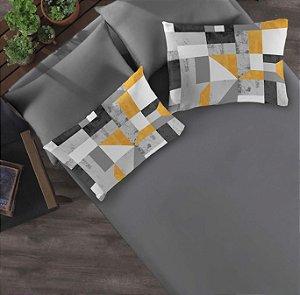 Kit: 1 Lençol com elástico liso Casal e 2 Fronhas estampadas de Malha Portallar Camurça