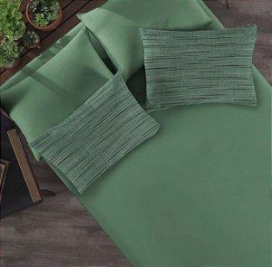 Kit: 1 Lençol com elástico liso Casal e 2 Fronhas estampadas de Malha Portallar Flame Verde