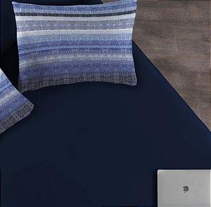 Kit 2 peças Solteiro Lençol com elástico liso + Fronha estampada de Malha Portallar Rafa Blue