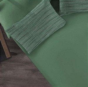 Kit 2 peças Solteiro Lençol com elástico liso + Fronha estampada de Malha Portallar Flame Verde