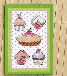 Pano de Copa Felpudo Sweet Cakes barra verde - Dohler