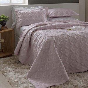 Kit Colcha Queen Madri 3D com Porta Travesseiros Arabesco Rosa
