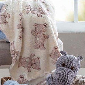 Manta para bebê Confort super macia 75cm x 100cm - Antialérgica Urso Bege